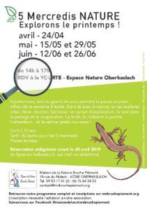 Mercredis nature - Explorons le printemps ! @ RDV à la yourte Espace nature Oberhaslach